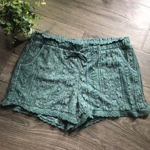 Green Lace Shorts